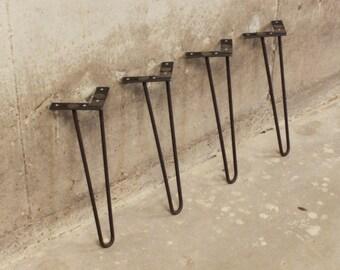Hairpin Table Legs - Coffee Table Height - Set of Table Legs - Metal Table Legs - Set of 4 Legs - Raw Steel - Metal Table Legs - Midcentury