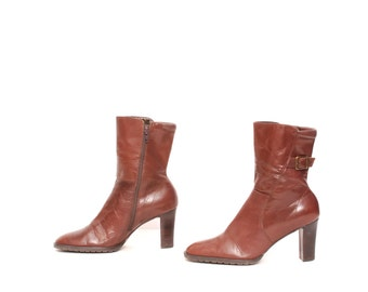 size 8.5 PLATFORM brown leather 80s 90s BUCKLE ankle boots