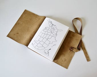Gifts for Travelers, Traveler Gift Idea, Gift for Travel Lover, Gifts for Adventurer, Travel Journal with USA map, Personalized, Golden