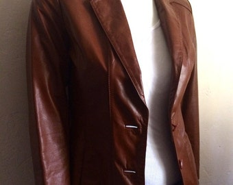 Vintage Women's 80's Wilson, Leather Jacket, Brown, Button Up, Fully Lined (XS)
