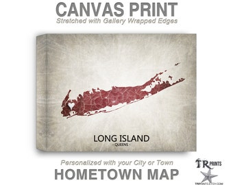 Long Island NY Map Stretched Canvas Print - Home Is Where The Heart Is Love Map - Original Personalized Map Print on Canvas