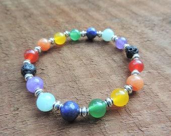 Chakra Lava Bracelet - Yoga Jewelry - Mala Beads - Gemstone Jewelry - Energy Bracelet - Chakra Jewelry - Yoga Bracelet - Meditation Bracelet