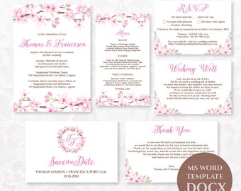 Cherry Blossoms Wedding Invitation Template, Printable Wedding Invitations, DIY Wedding Invitation, Editable Text, Sakura, TVW043 DOCX