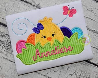 Personalized Easter Chick with Eggs in Grass Applique Shirt or Bodysuit Girl or Boy
