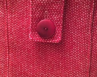 Red Harris Tweed Shoulder Bag