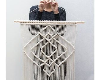"Large Macrame Wall Hanging - Macrame Curtains - Macrame Wall Art - Macrame Patterns - Wall Tapestry - Macrame Hanging - Home Decor - ""IDA"""