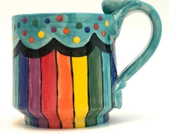 Ceramic Rainbow Mug One (1) Handmade Wheel Thrown Stoneware Coffee Cup Hand Painted Made to Order Four Colors to Choose From MG0026