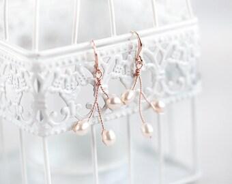 Rose gold earrings Pearls earrings Elegant earrings Wedding earrings Pink gold earrings Delicate earrings Bridal Handmade jewelry 654