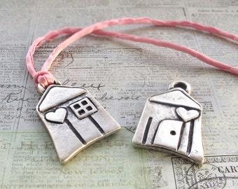 25%OFF Mykonos beads 40mm Woodland House Antique silver plate Greek Mykonos Casting Metal Charm Pendant DIY jewelry craft supplies 1pc
