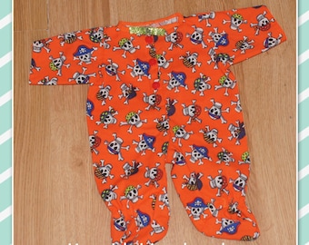 Cabbage Patch Doll Clothes - Holloween Romper - Orange with Skulls