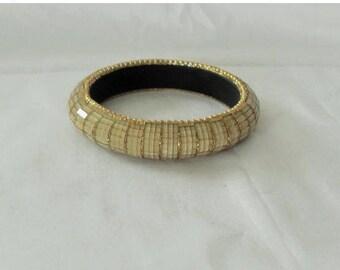 SALE Gold Glass Mosaic bangle bracelet, Gold clear retro gypsy, hippie, Boho, bangle bracelet, Gift for her Gingerslittlegems