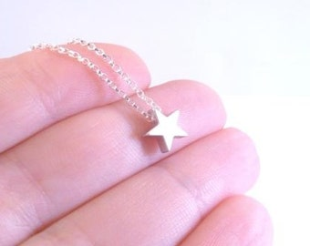 Silver star necklace - .925 sterling silver rolo chain with simple minimalist matte rhodium small charm pendant - Baby I'm a STAR