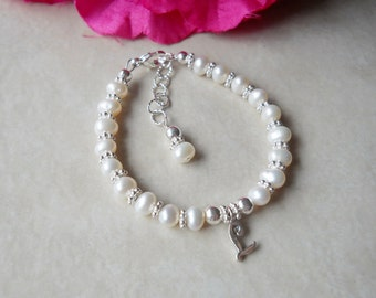 Two Years and Older Sterling and Freshwater Pearl Child Initial Bracelet B211