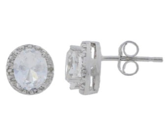 White Sapphire & Diamond Round Stud Earrings .925 Sterling Silver