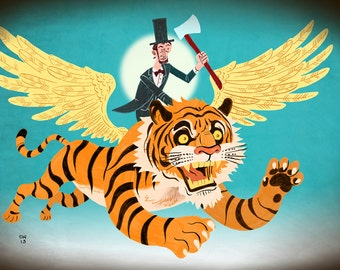 Limited Edition Abraham Lincoln on a Flying Tiger- 13x19