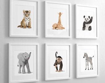 Baby Animal Nursery Art Prints,  modern minimalist nursery decor, - set of six unframed prints - safari animal, jungle animal childrens art