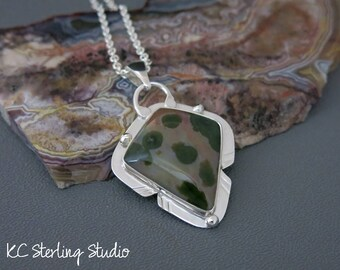 natural ocean Jasper and sterling silver metalsmith pendant necklace - metalsmith