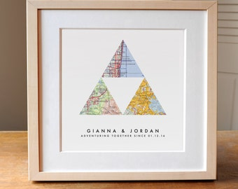 Gift for Couple, Personalized Map Art, 3 Custom Maps, Wedding Gift Art, Custom Anniversary Print, Gift for Couple, Wedding Map Art