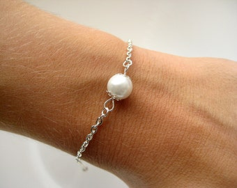 Set of 6- Pearl Bridesmaid Bracelet, Custom Pearl Color, Pearl Bridesmaid Jewelry,Bridesmaid Bracelets, Bridesmaid Pearl Bracelets