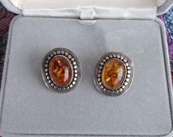 Vintage, Faux Amber, and Silver Clip-on Style Earrings