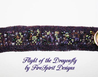 Flight of the Dragonfly- beadwoven cuff bracelet- handwoven jewelry- dragonfly bracelet- artisan bracelet- OOAK woven bracelet- gift for her