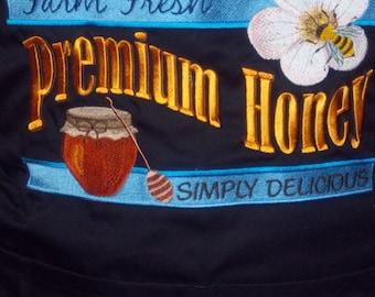 Premium Honey Embroidered Black Chef's Apron