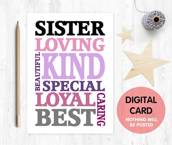PRINTABLE sister birthday card printable sister thanks card digital download big sister printable sister quote love paper rainbow