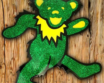 Green & Yellow Glitter Dancing Bear
