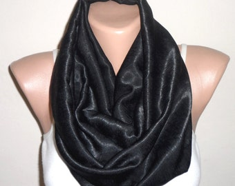 black infinity scarf loop scarf trendy scarf women scarf turkish scarf satin fabric fashion accessories