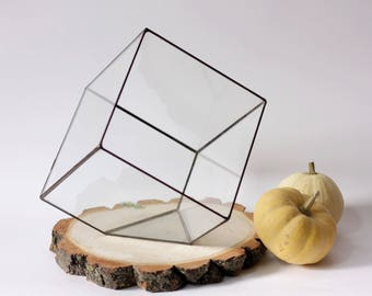 Geometric Terrarium / Large Cube / Stained Glass Terrarium / Handmade Glass Planter / Stained glass vase