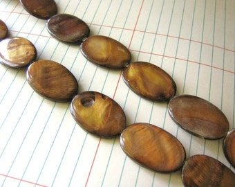 Brown Shell Beads 20x30mm Flat Oval,  Full Strand