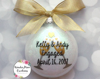 Engagement Champagne Christmas Ornament; Personalized Engagement Ornament; Just Engaged Ornament; Engagement Gift Ornament