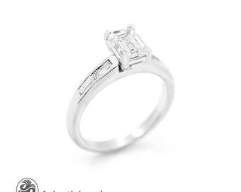 Emerald Cut Diamond Engagement Ring, Diamond Engagement Ring, White Gold Engagement Ring, Baguette cut Diamond Ring | LDR02529