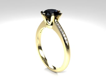 Black spinel engagement ring, yellow gold,  rose gold, white gold, diamond engagement ring, solitaire, gothic, spinel wedding, black, thin