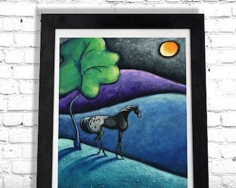 Appaloosa Horse Appy Wall Hanging, Colorful Art Print, Equestrian Artwork, Farmhouse Home Decor, Bedroom Art, Bathroom Print, Giclee SHANO