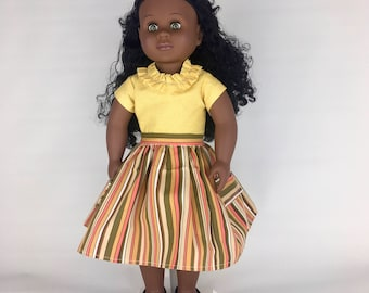 Striped Pocket Skirt - 18 Inch Doll Clothes, AG Doll Dress, Handmade Striped Skirt for American Girl or Our Generation Doll