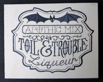 Toil and Trouble Apothecary Embroidered Wall Hanging