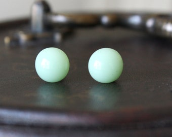 Song of Spring Earring Posts - Light Green Fused Glass Ear Studs, Hypoallergenic Ear Posts, Handmade Surgical Steel Jewellery, FREE SHIPPING
