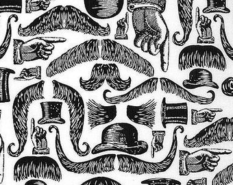 Mustaches - Springs Creative Black and White Victorian Mustaches -  100% Cotton - 4 FQs Left in Stock