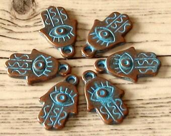 Hamsa Hand Charm, Antique Copper & Blue Patina, 6 Pieces, AC204