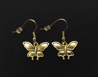 BUTTERFLY Charm Earrings Stainless Steel Ear Wire Silver Metal Unique Gift