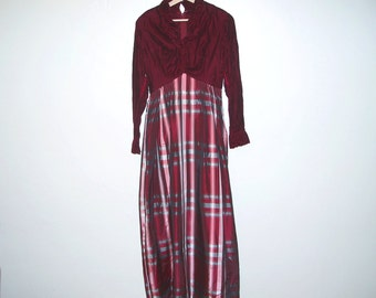 Vintage dark red long sleeved dress with velvet bodice and plaid skirt
