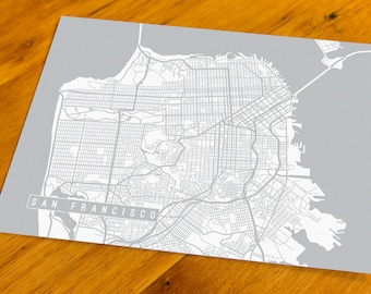 San Francisco, CA - Map Art Print  - Your Choice of Size & Color!