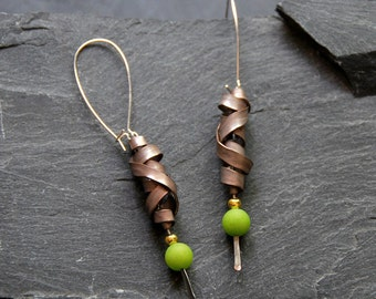 Long statement earrings, Hammered earrings, Gemstone earrings with green Jade, Unique Bohemian jewelry for women, 1123-bronze