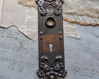 Ornate Door Knob Back Plate- Fancy ESCUTCHEON Plate- Old Door Hardware Salvaged Door Plate- Victorian Front Door- N27