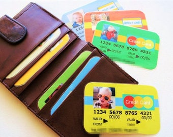 BOY or GIRL - 8 Pretend Credit Cards Customize with Photo Personalize Children Toy Money - Made To Order