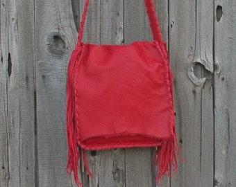 Red leather handbag , Red leather purse , Designer shoulder bag, Statement handbag, Large red purse, Custom handbag, Fringed handbag