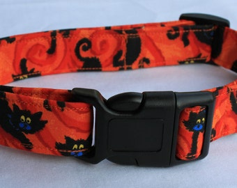 Scaredy Cats Halloween Dog Collar Comic Size XS, S, M or L