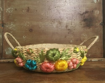 Vintage Floral Casserole Pyrex Carrier Tote Basket // Floral Picnic Basket // Gift Idea // Kitchen Decor