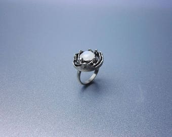 one of a kind moonstone ring, metalwork sterling silver ring, lunar ring